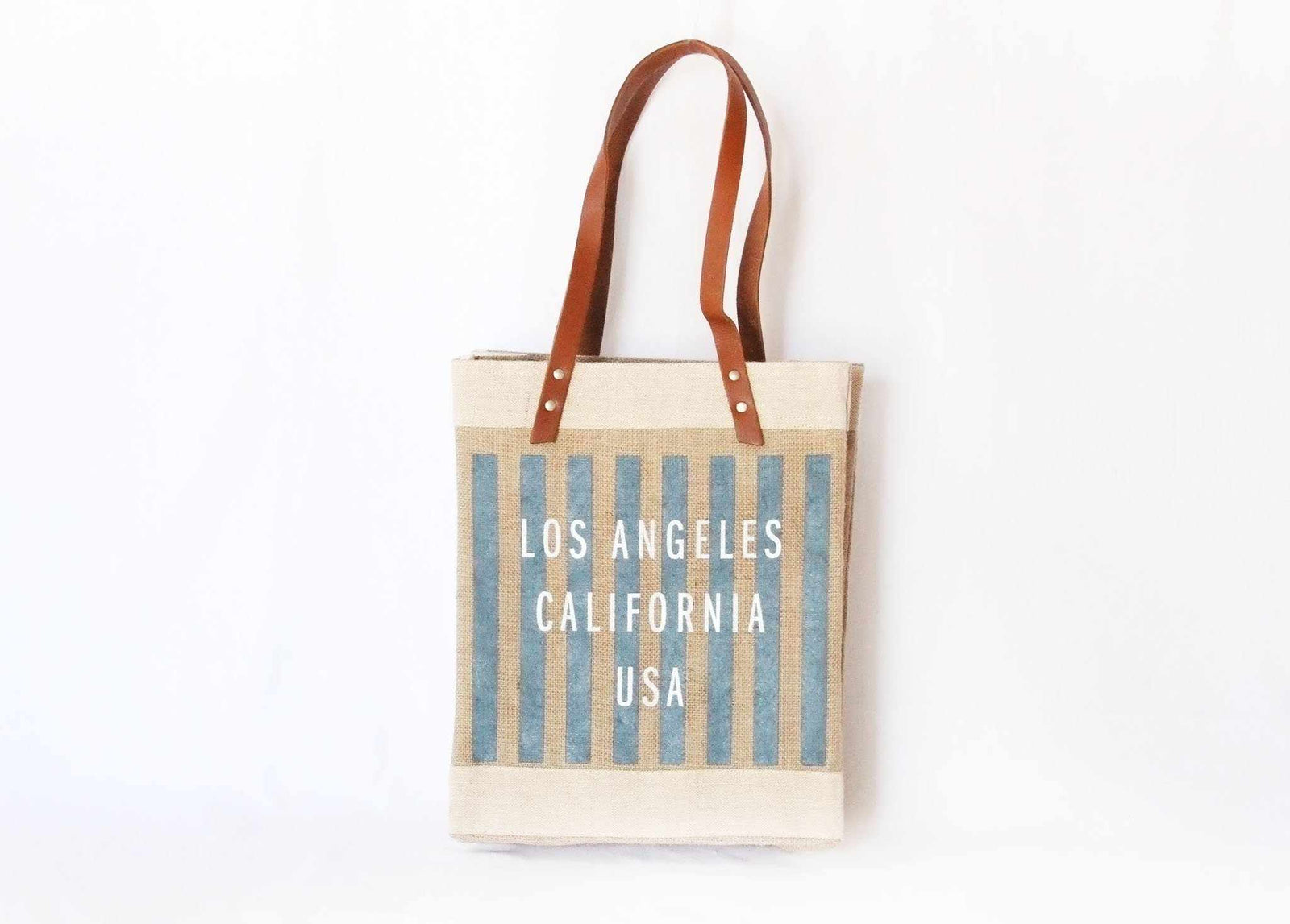 Customize Your Striped Long Handle Tote in Navy