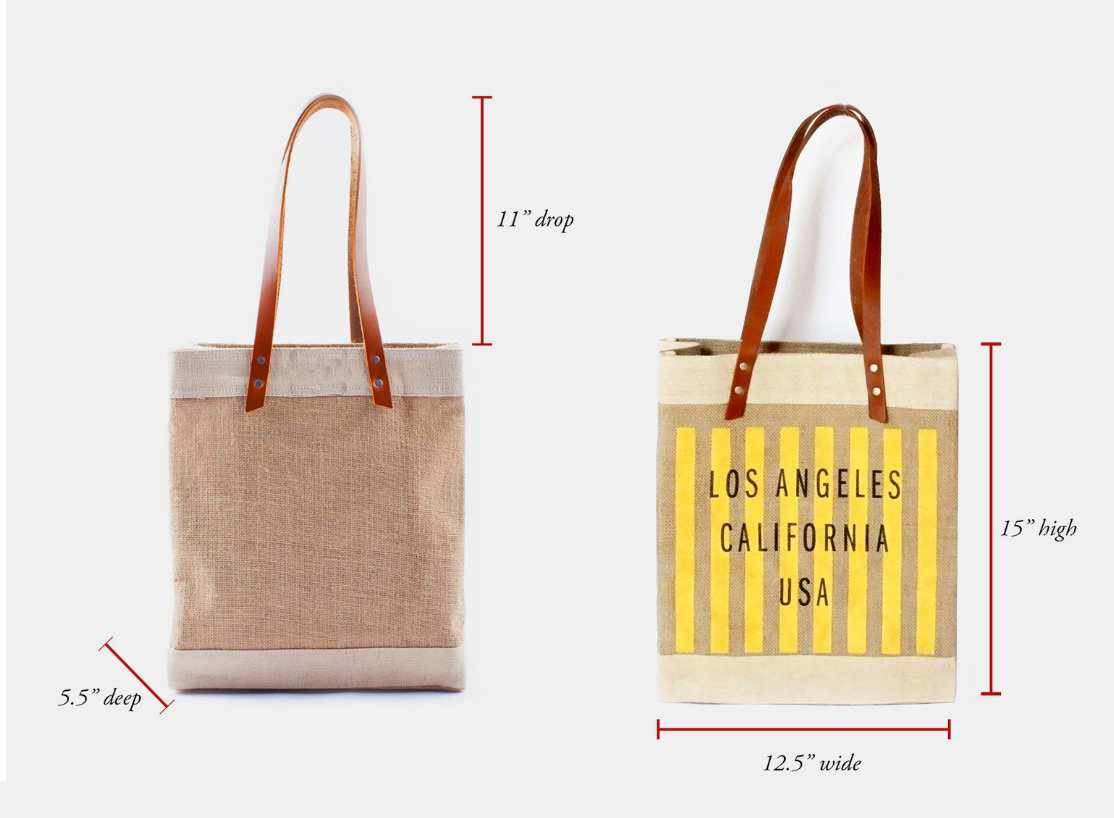 Customize Your Striped Long Handle Tote in Yellow