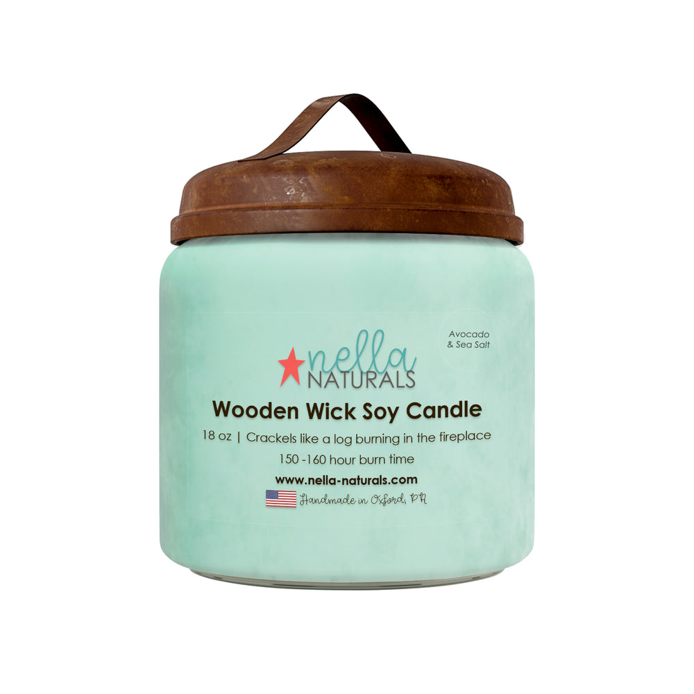 18oz Avocado & Sea Salt Wooden Wick Candle
