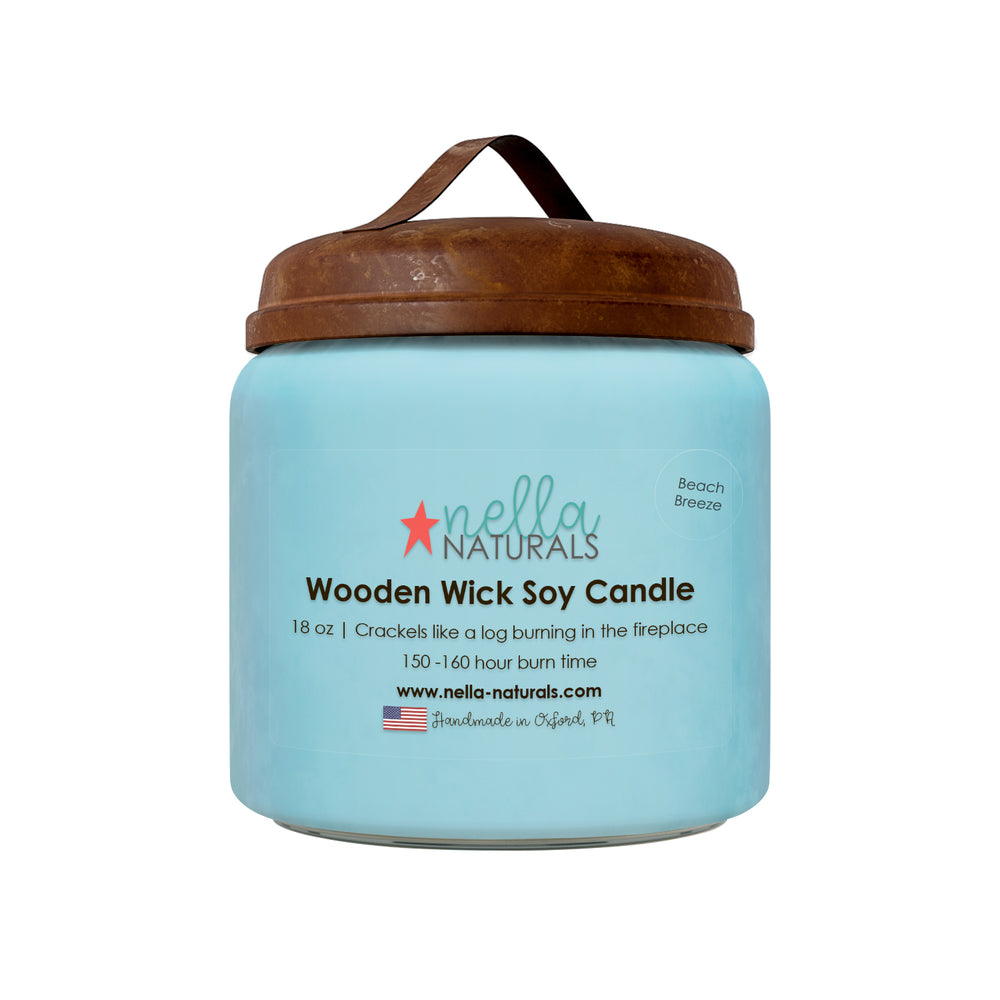18oz Beach Breeze Wooden Wick Candle