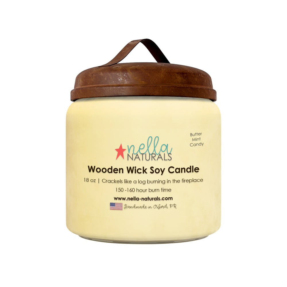 18oz Butter Mint Wooden Wick Candle