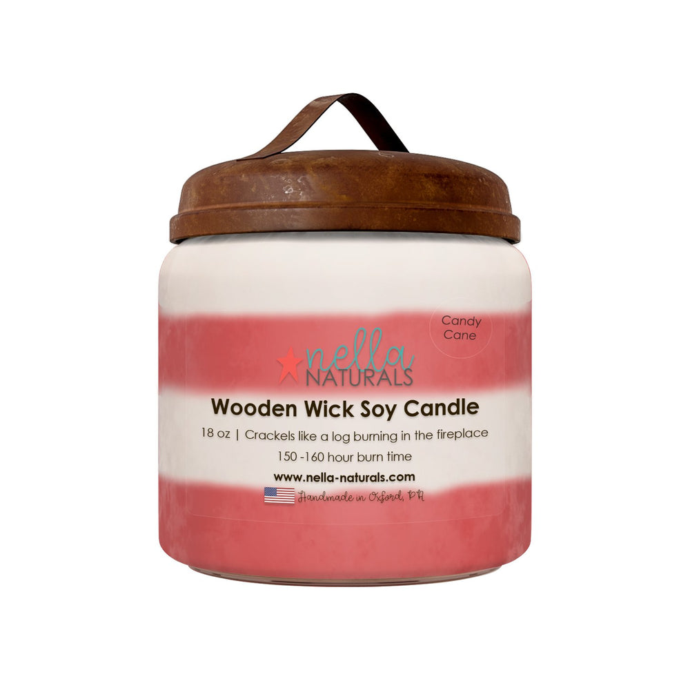 Candy Cane Wooden Wick Candle