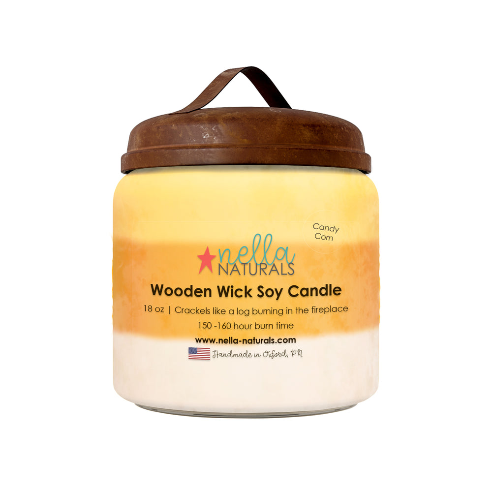 18oz Candy Corn Wooden Wick Candle