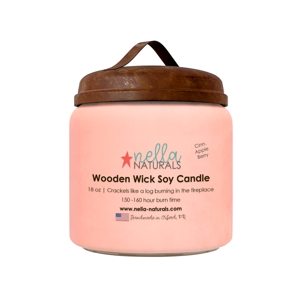 26 oz Cinnamon Apple Berry Wooden Wick Candle