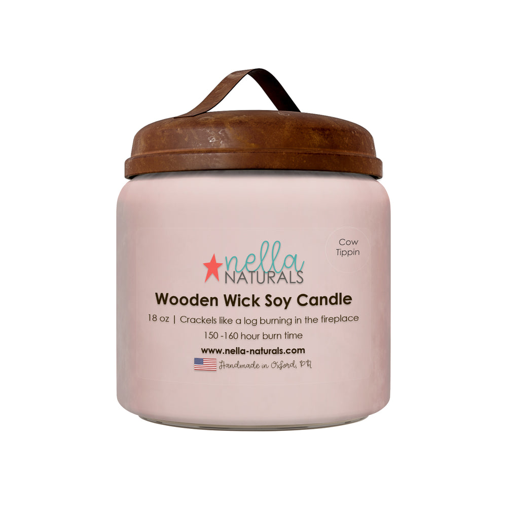 18oz Cow Tippin Wooden Wick Candle