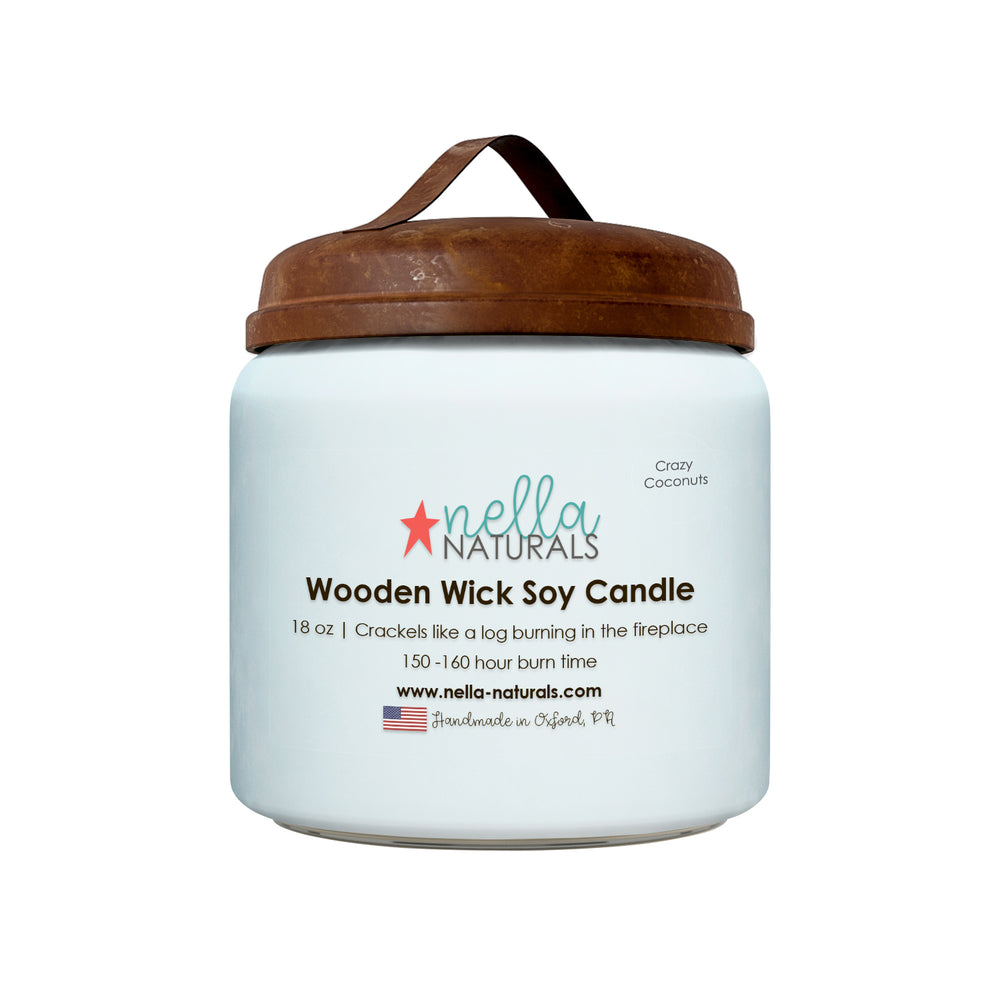 18oz Crazy Coconuts Wooden Wick Candle