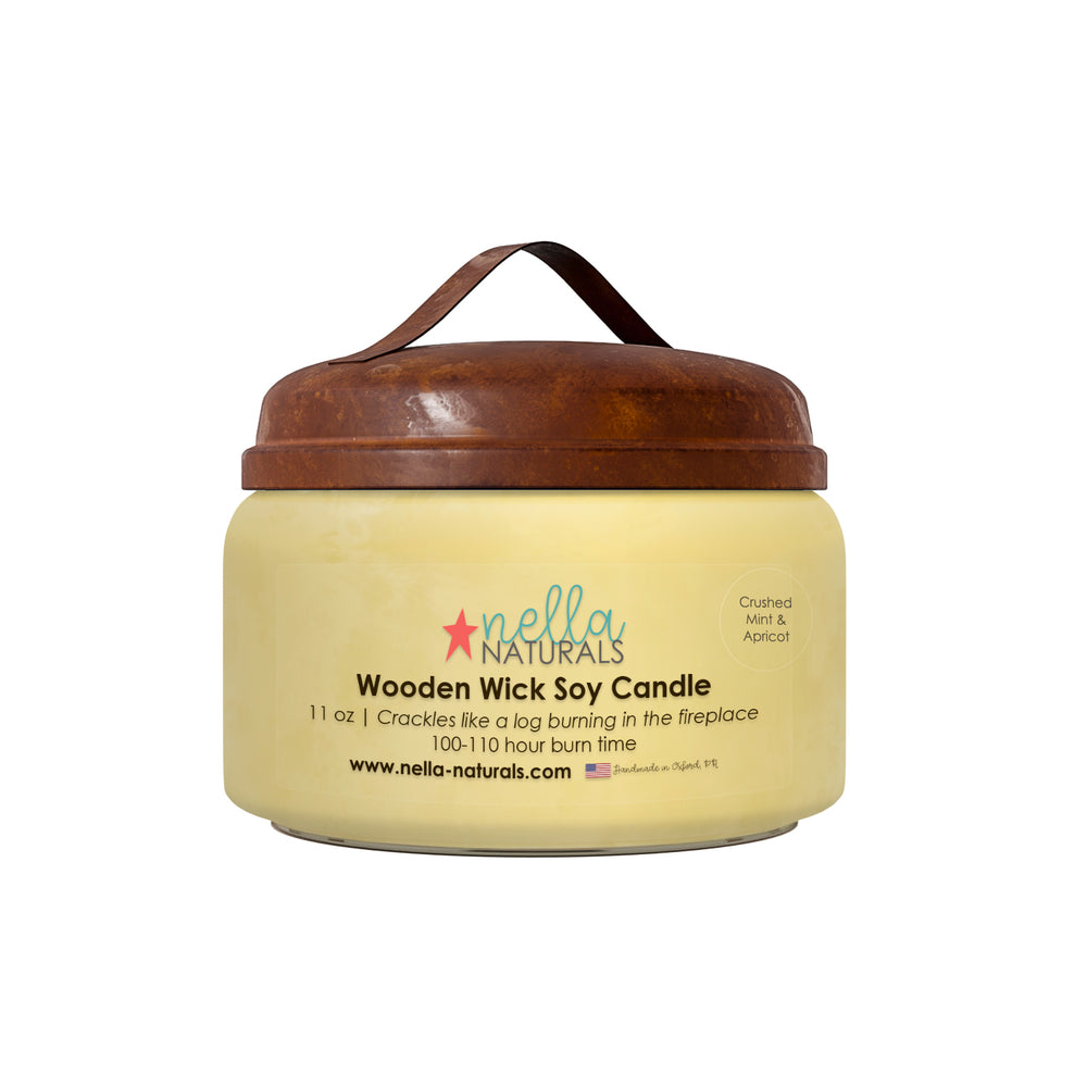 Crushed Mint & Apricot Wooden Wick Candle 11oz