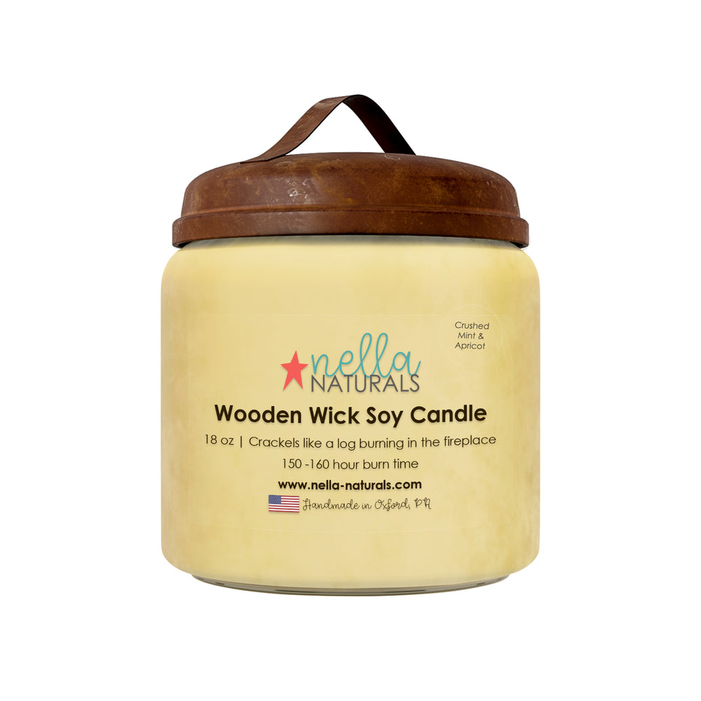 Crushed Mint & Apricot Wooden Wick Candle 18oz