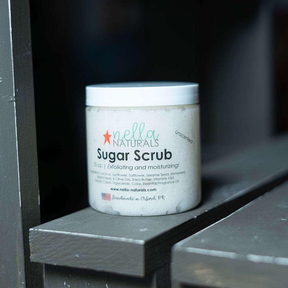 Unscented Sugar Scrub on a shelf