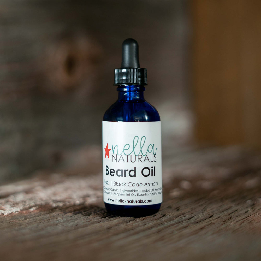 Black Code Armani Beard Oil on a shelf