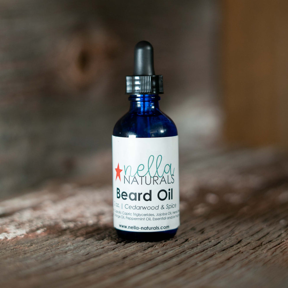 Cedarwood & Spice Beard Oil on a shelf