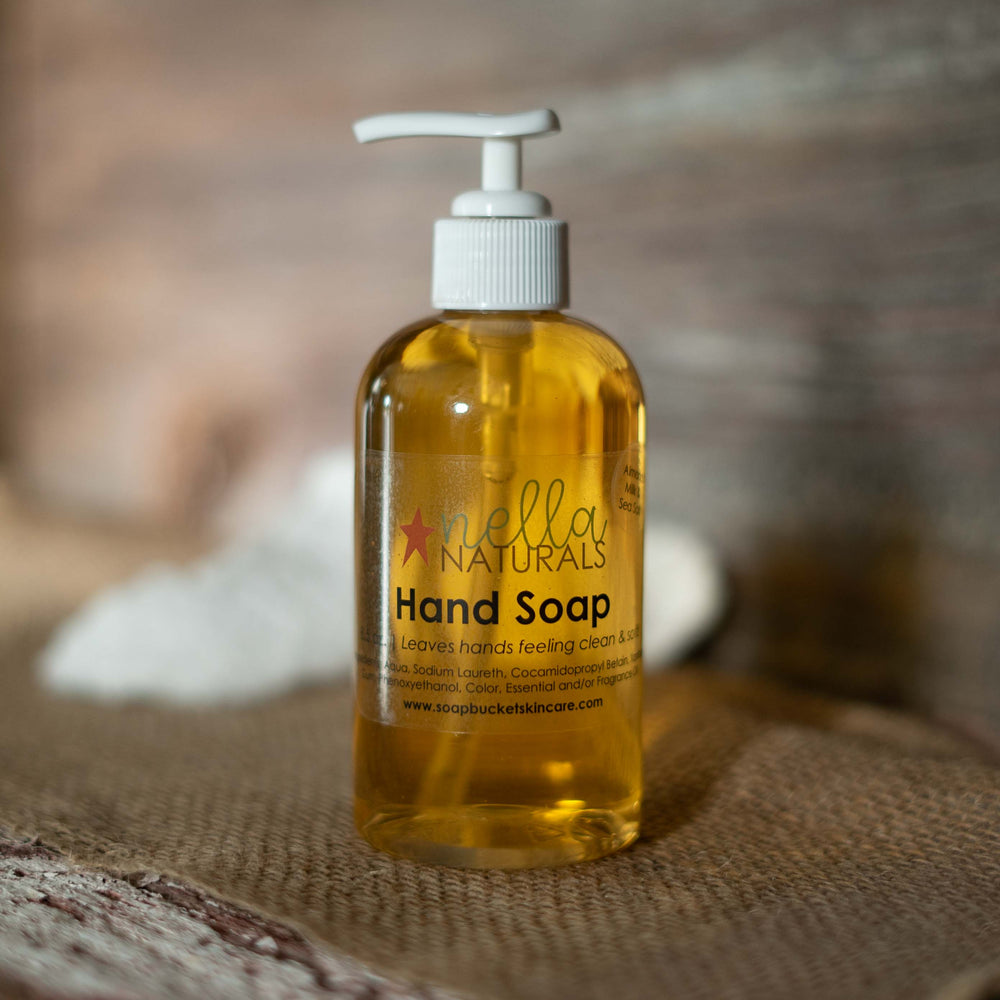 Almond Milk & Sea Salt Liquid Hand Soap on a shelf