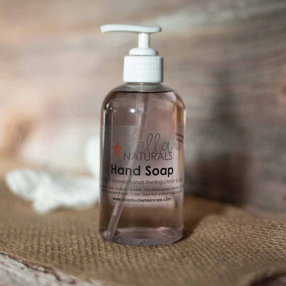 Lavender Vanilla Liquid Hand Soap on a shelf