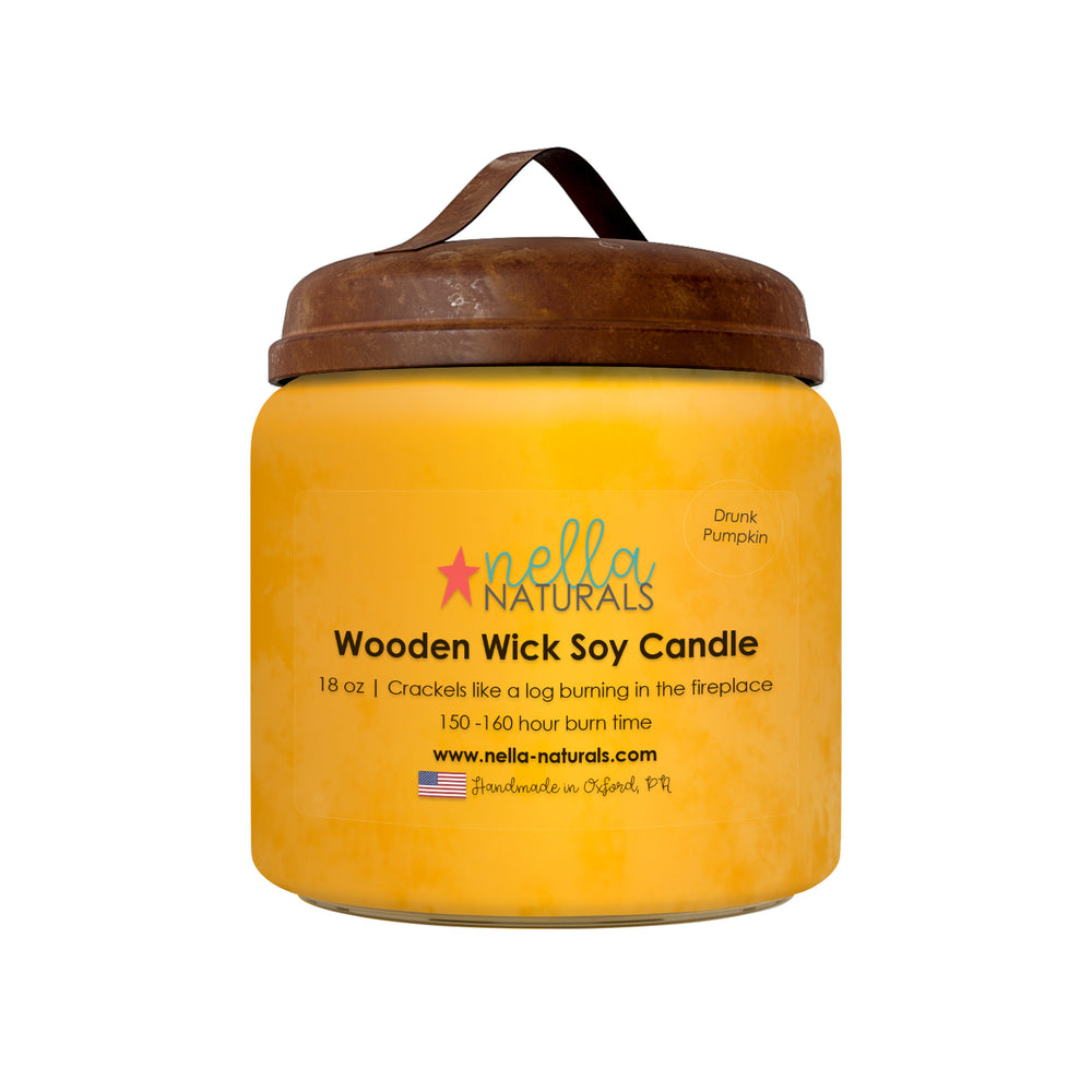 18oz Drunk Pumpkin Wooden Wick Candle