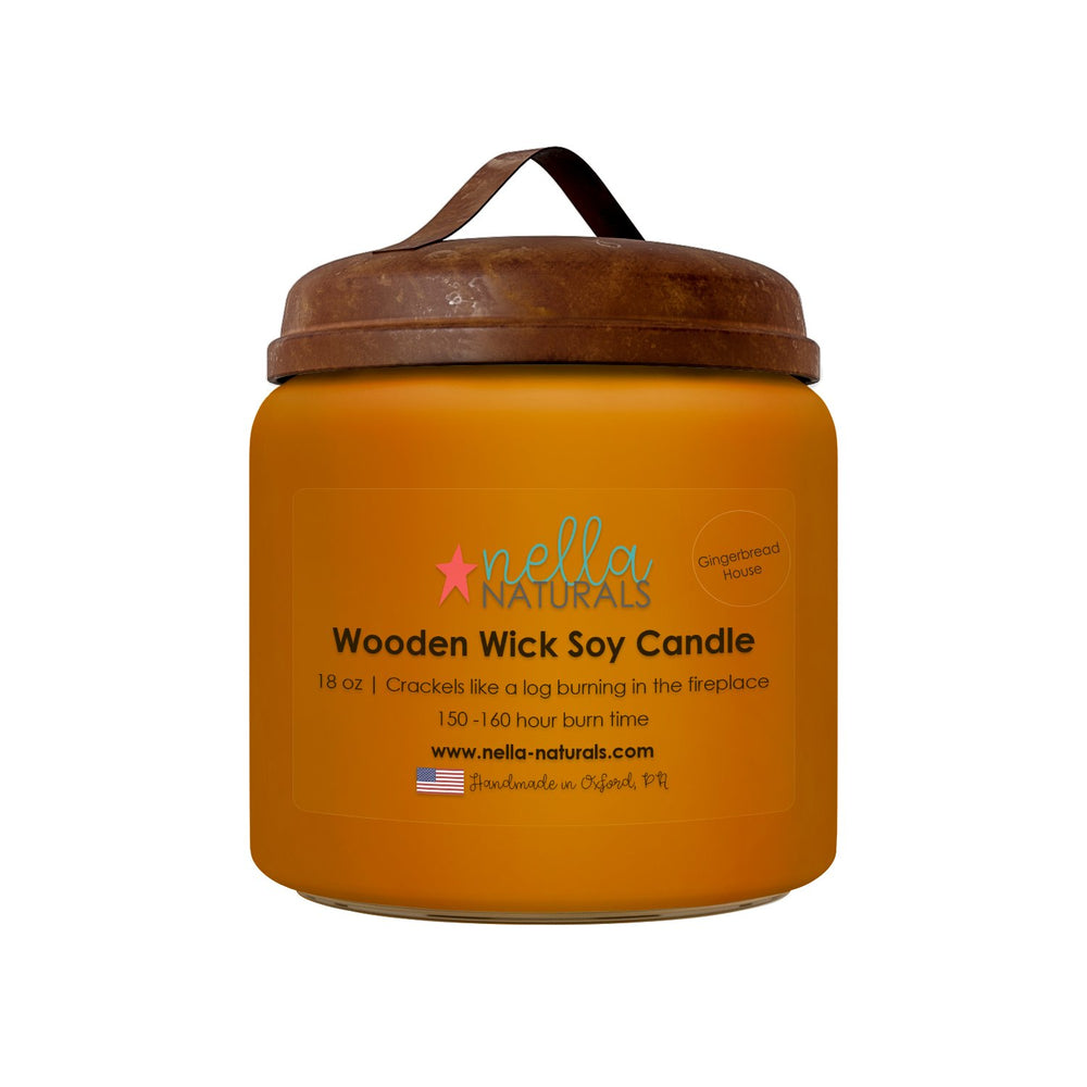18oz Gingerbread House Wooden Wick Candle