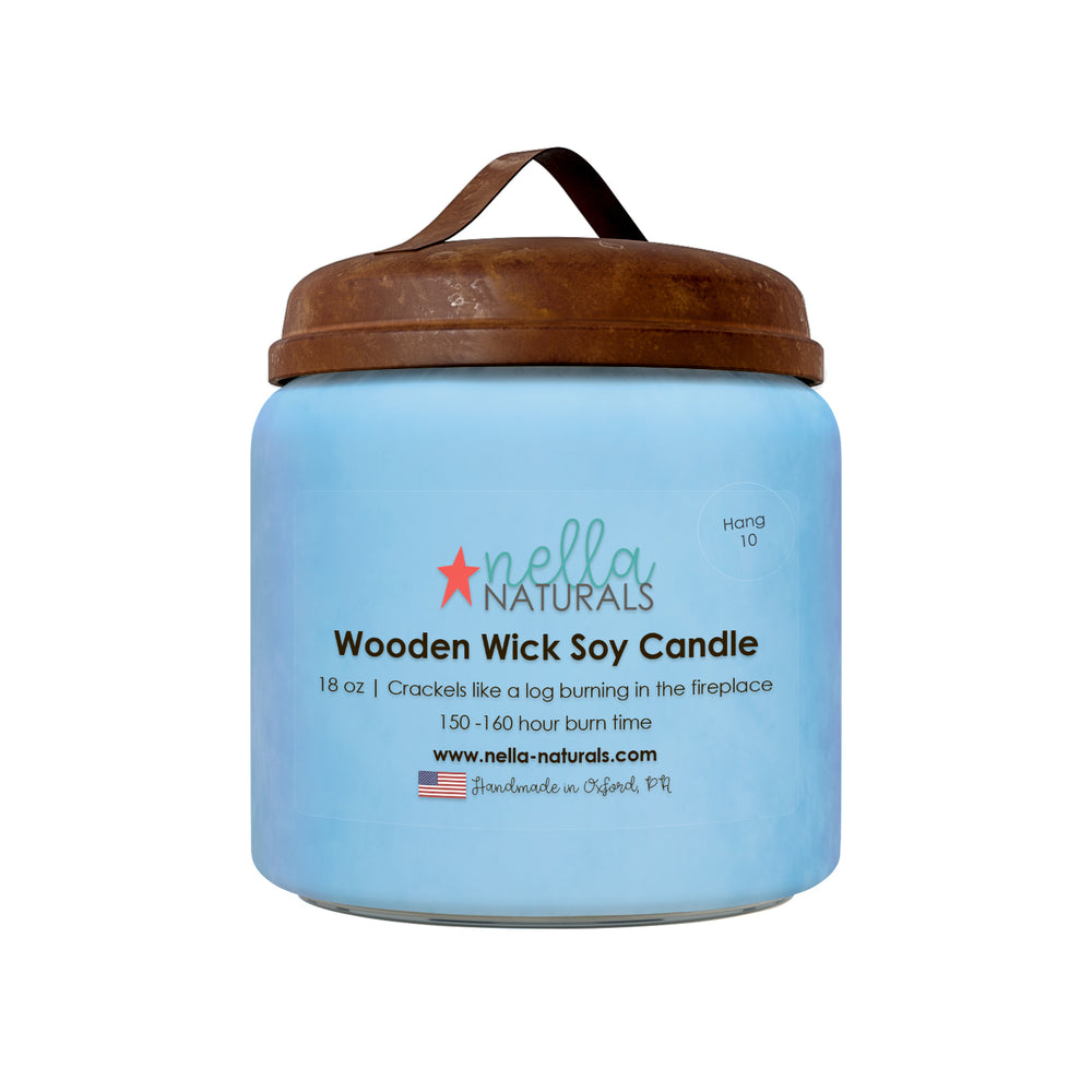 18oz Hang 10 Wooden Wick Candle