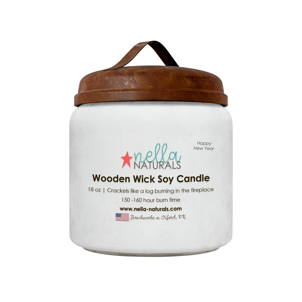 18oz Happy New Year Wooden Wick Candle