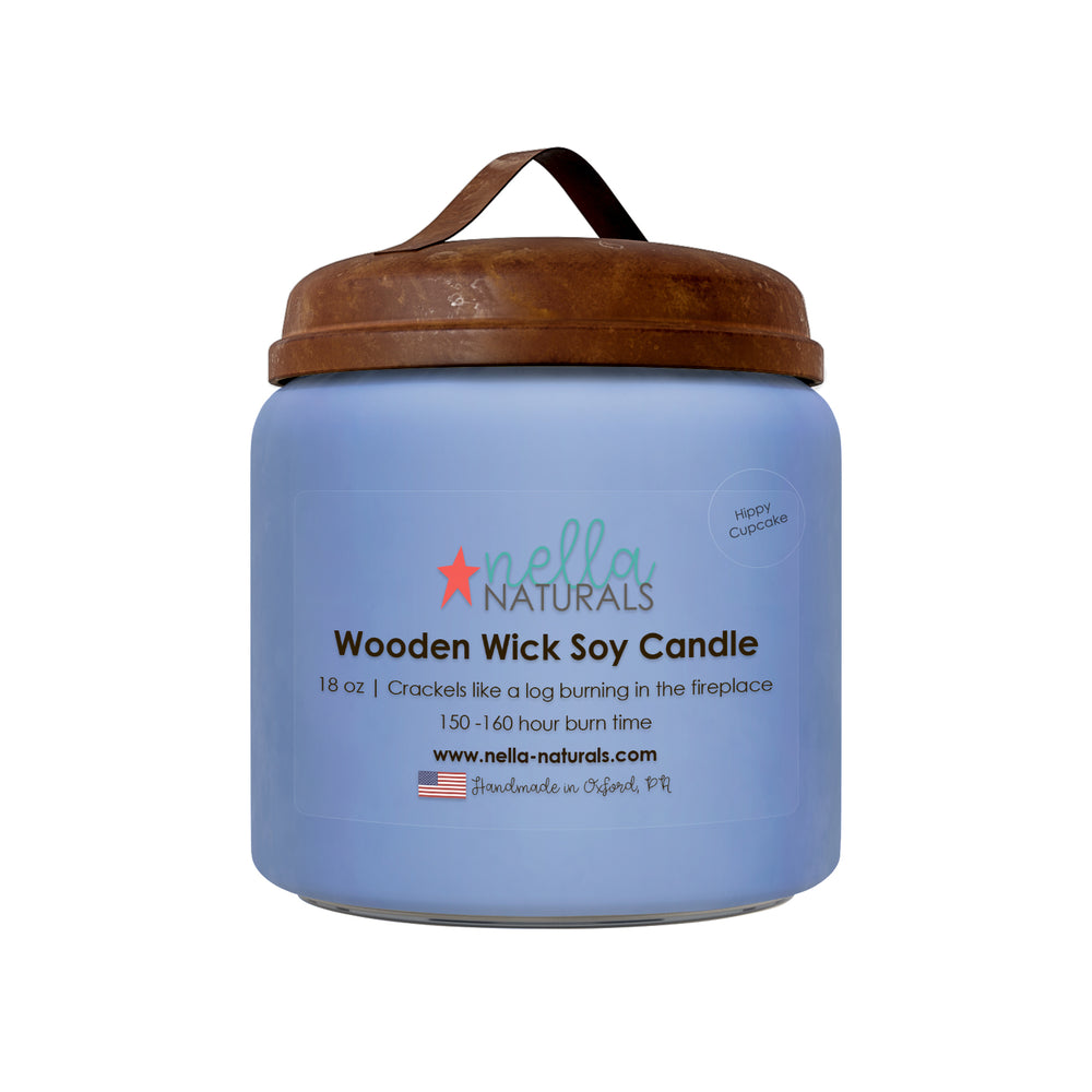 18oz Hippy Cupcake Wooden Wick Candle