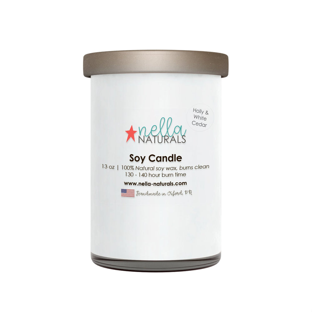 13oz Holly & White Cedar Soy Wax Candle