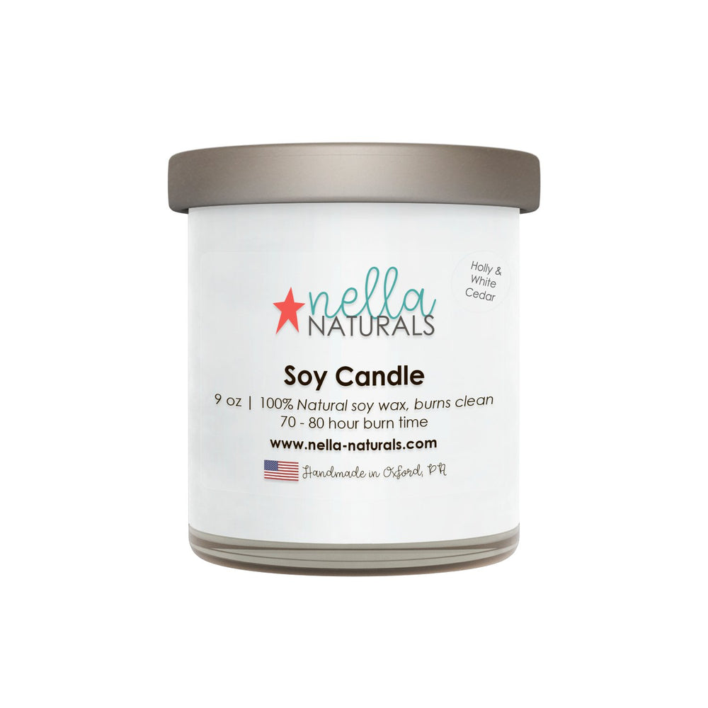 9oz Holly & White Cedar Soy Wax Candle