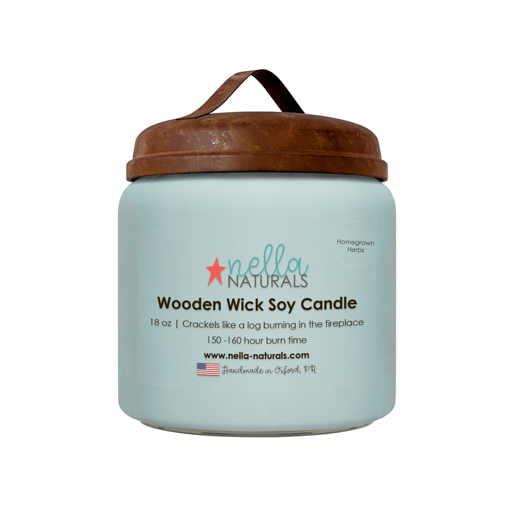 13oz Homegrown Herbs Wooden Wick Candle