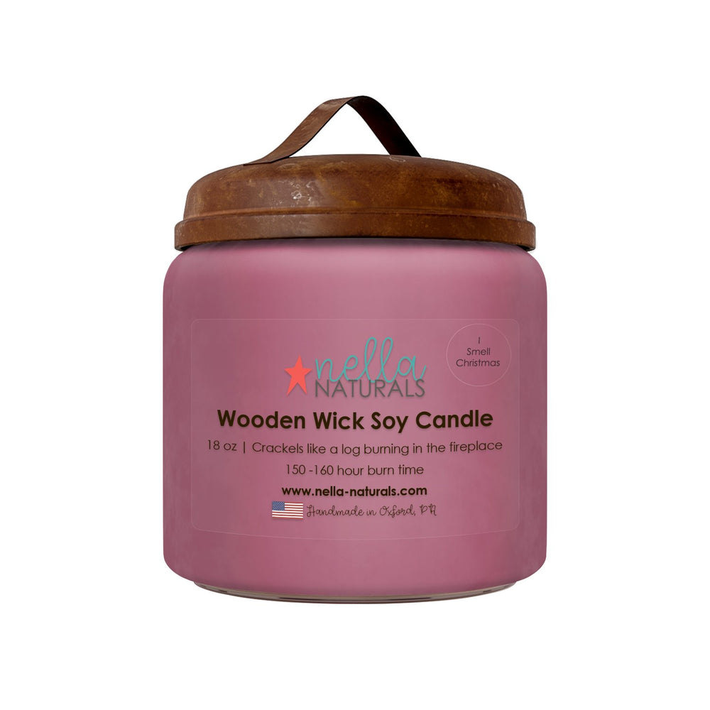 18oz I Smell Christmas Wooden Wick Candle