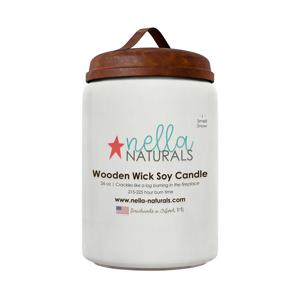 26oz I Smell Snow Wooden Wick Candle
