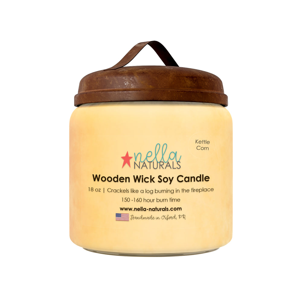18oz Kettle Corn Wooden Wick Candle