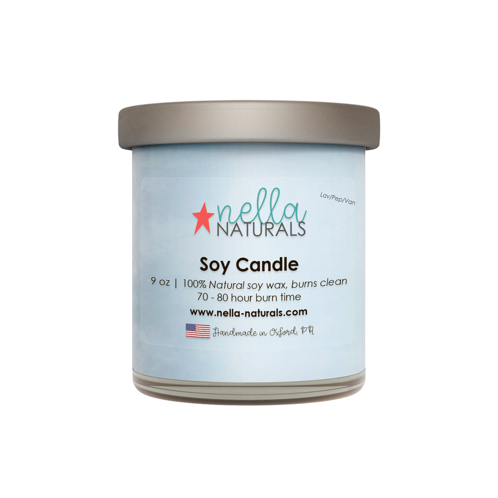 9oz Lavender Peppermint Vanilla Soy Wax Candle