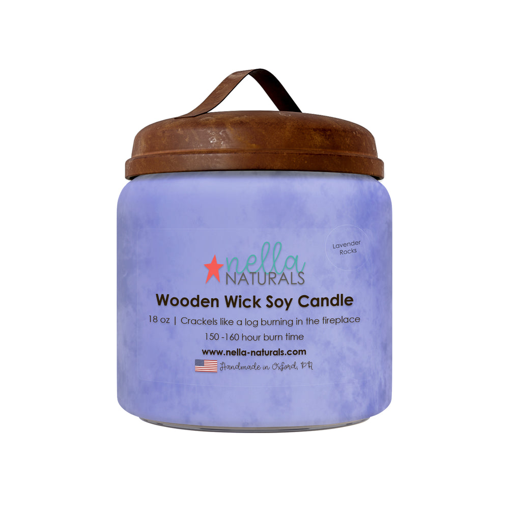 18oz Lavender Rocks Wooden Wick Candle