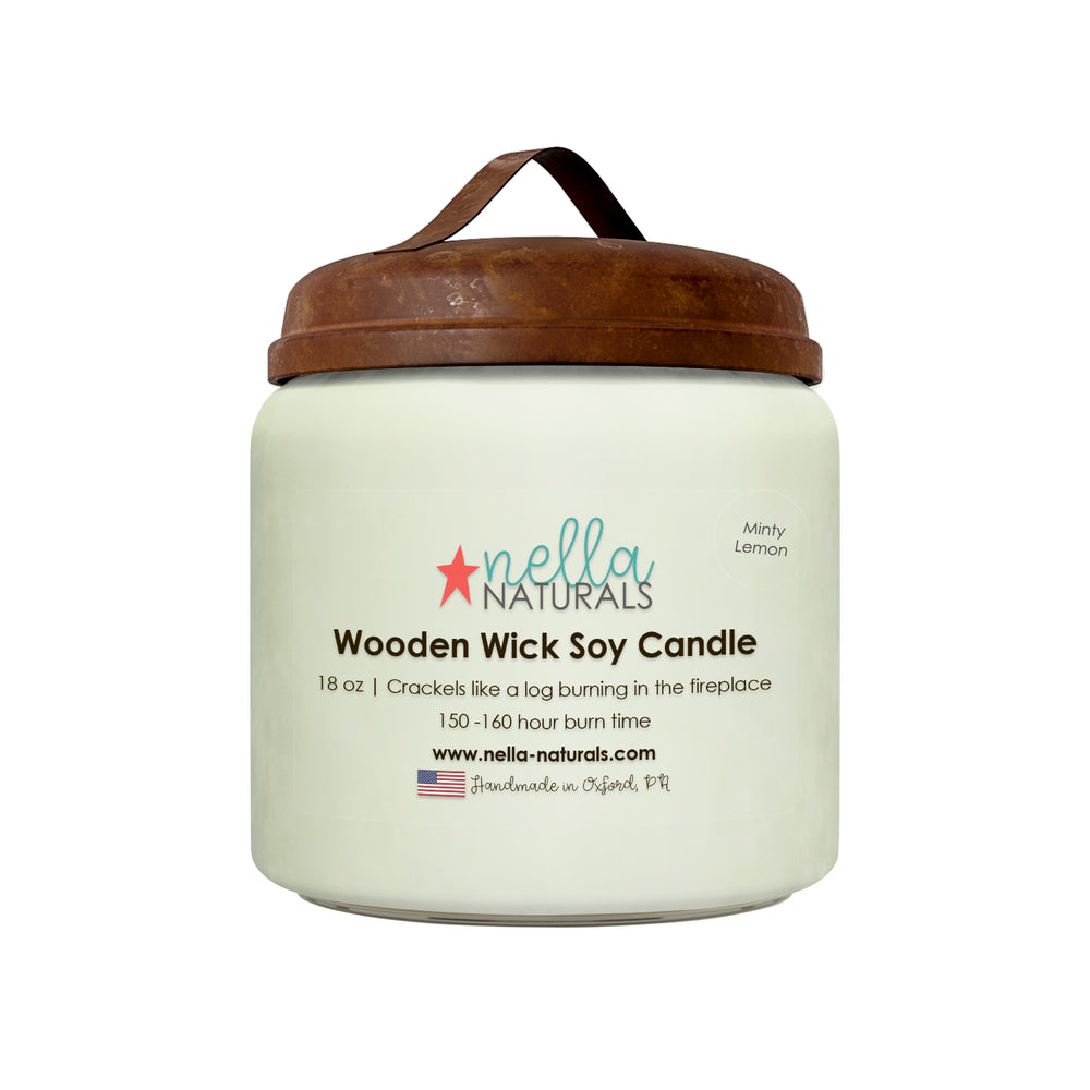 18oz Minty Lemon Wooden Wick Candle