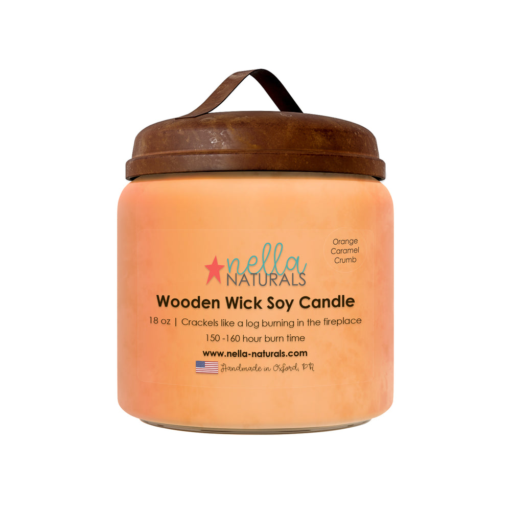 18oz Orange Caramel Crumb Wooden Wick Candle