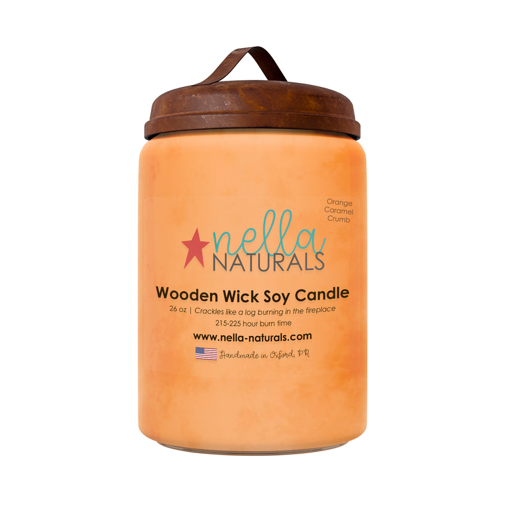 26oz Orange Caramel Crumb Wooden Wick Candle