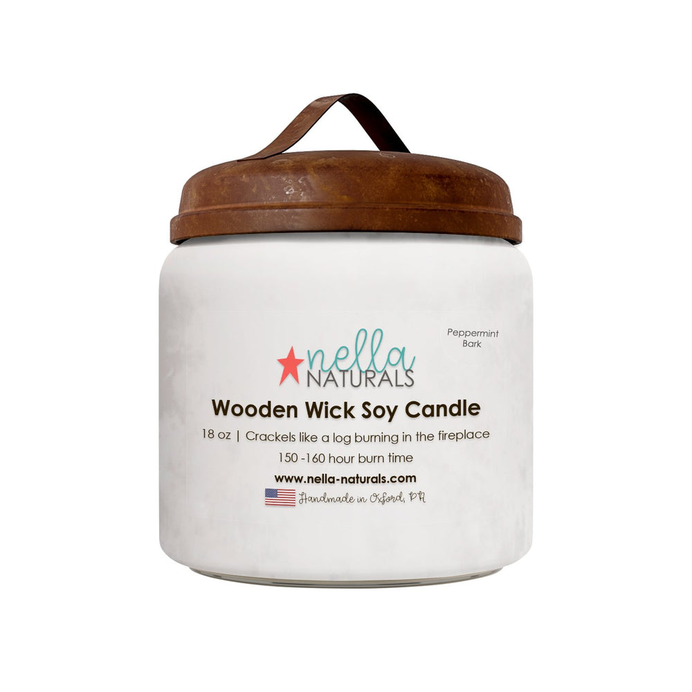 18oz Peppermint Bark Wooden Wick Candle