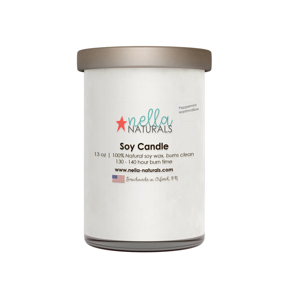 13oz Peppermint Marshmello Soy Wax Candle
