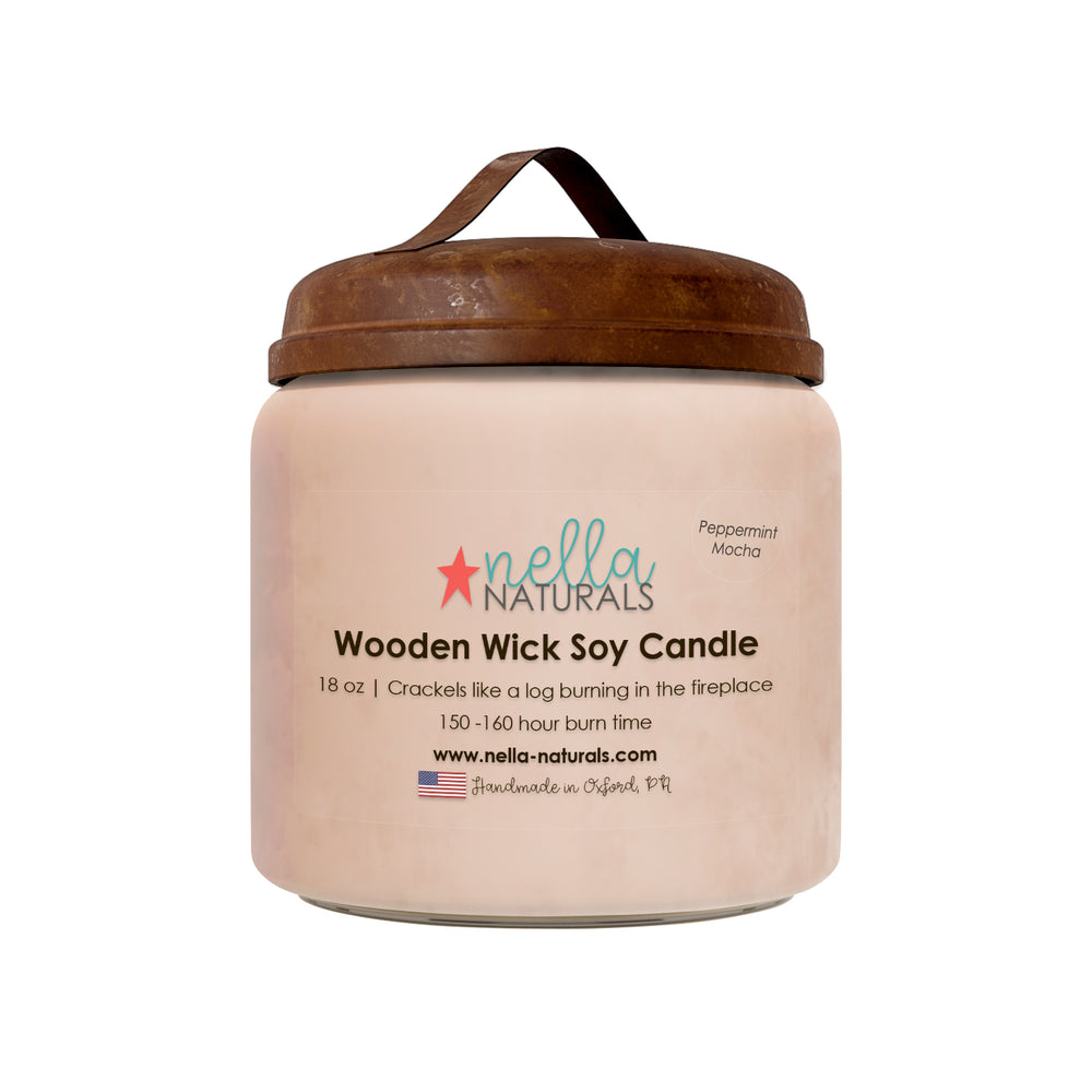 18oz Peppermint Mocha Wooden Wick Candle