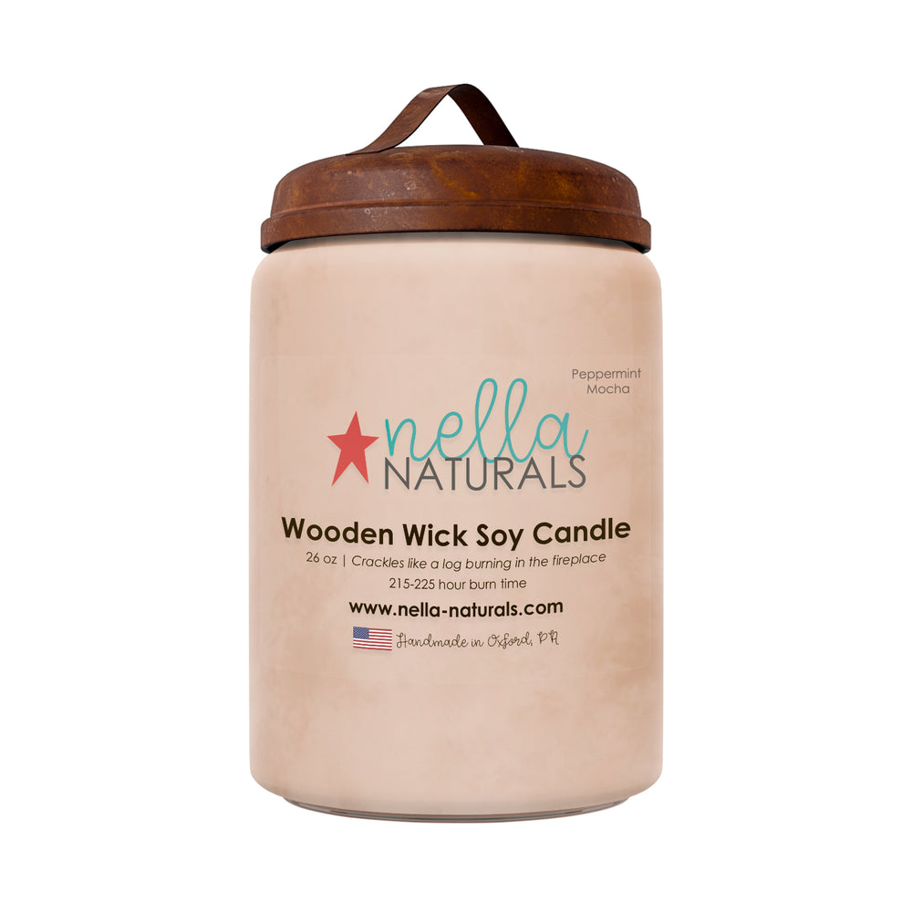 26oz Peppermint Mocha Wooden Wick Candle