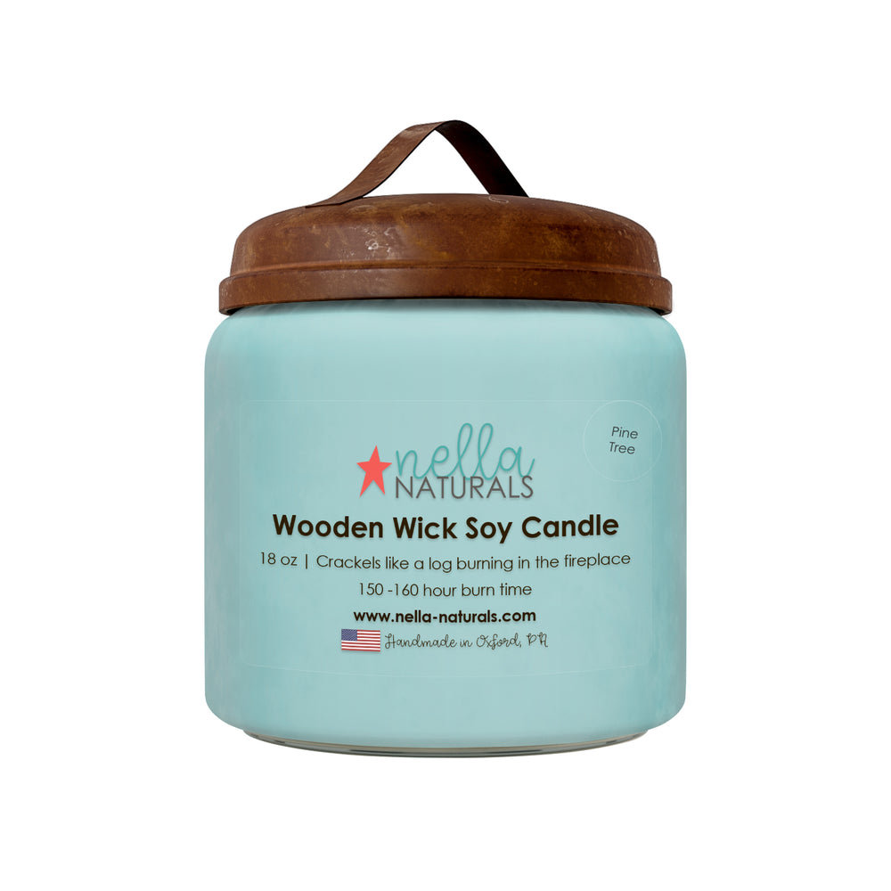 18oz Pine Tree Wooden Wick Candle