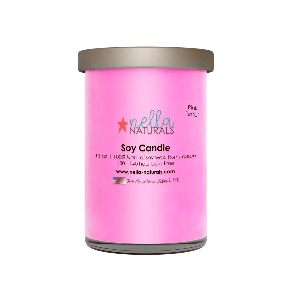 13oz Pink Tinsel Soy Wax Candle