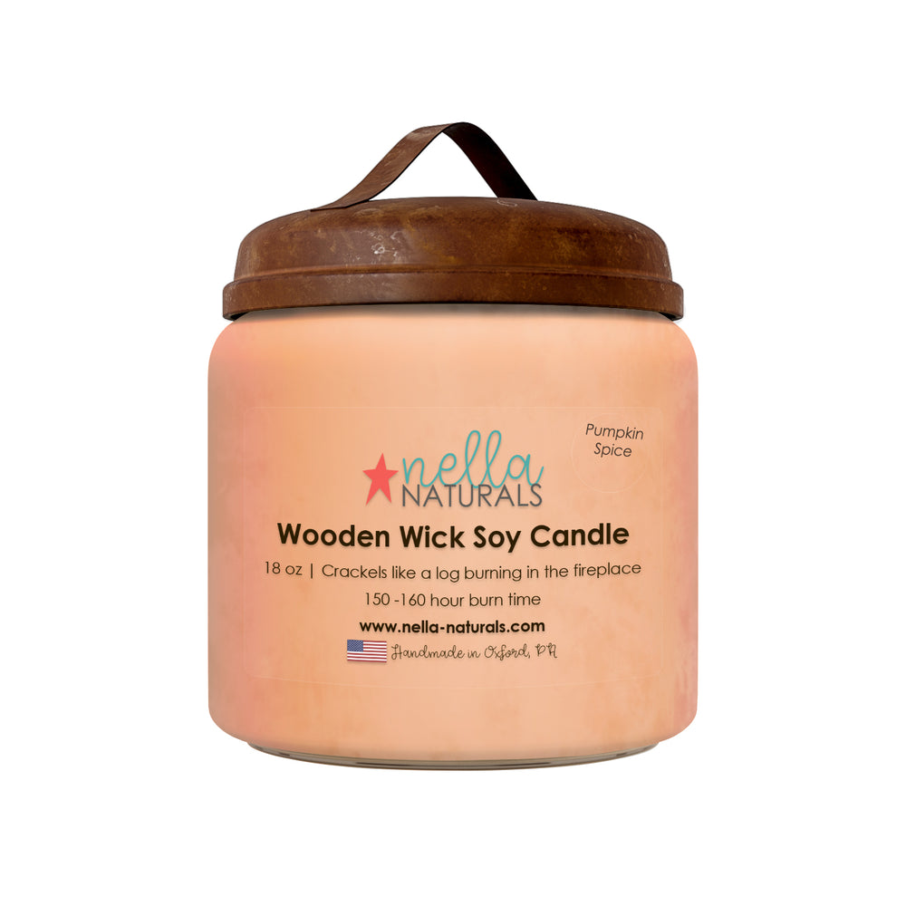 18oz Pumpkin Spice Wooden Wick Candle