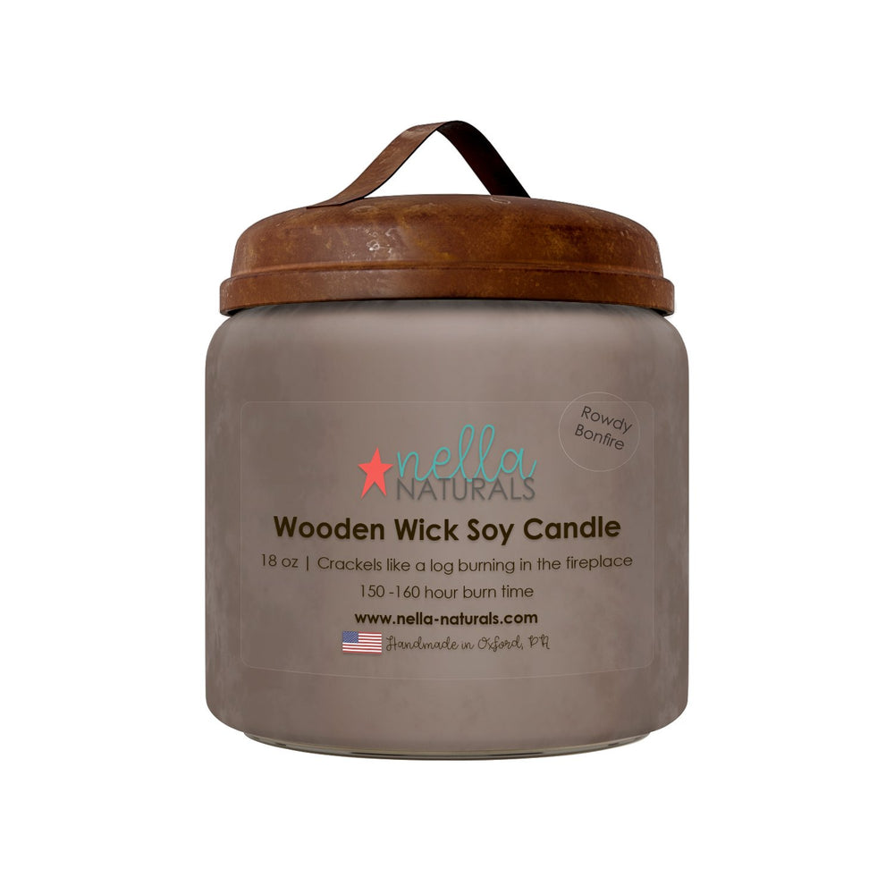 18oz Rowdy Bonfire Wooden Wick Candle