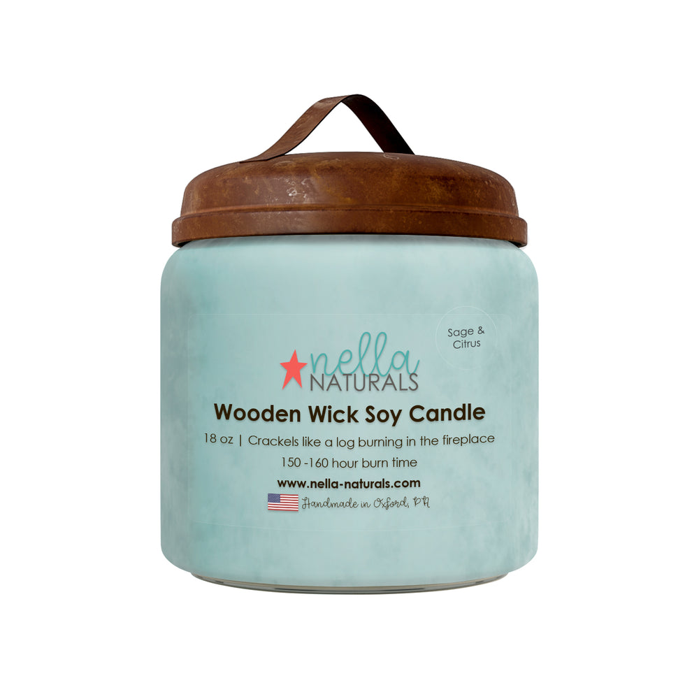 18oz Sage & Citrus Wooden Wick Candle