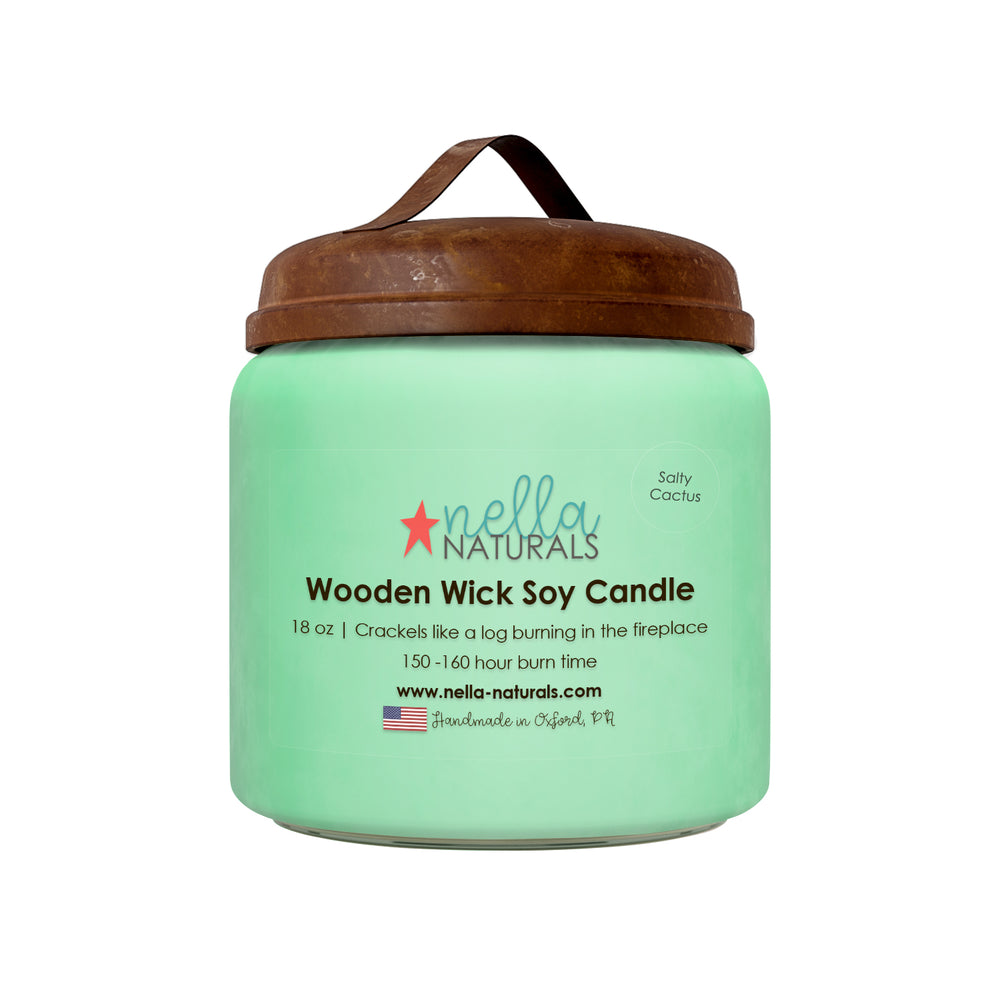 18oz Salty Cactus Wooden Wick Candle