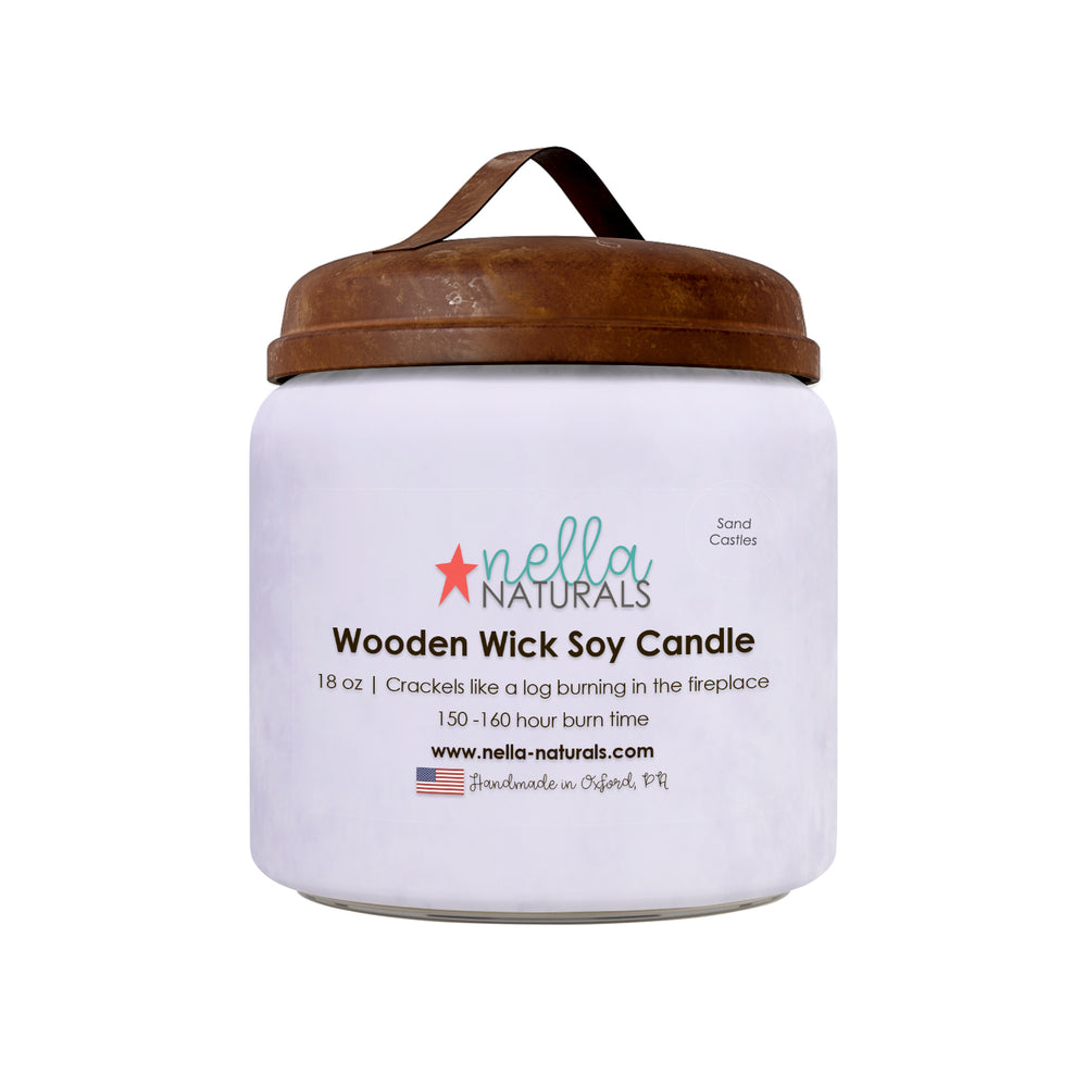 18oz Sand Castles Wooden Wick Candle