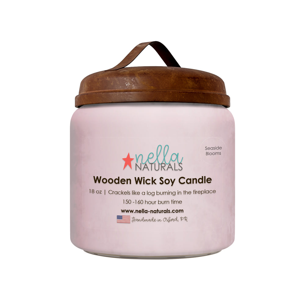 18oz Seaside Blooms Wooden Wick Candle