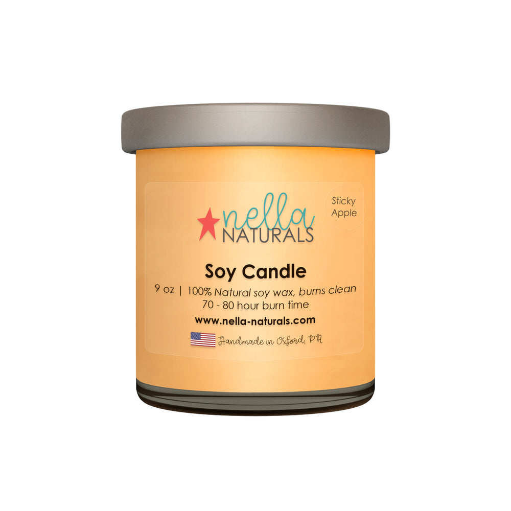 9oz Sticky Apple Soy Wax Candle