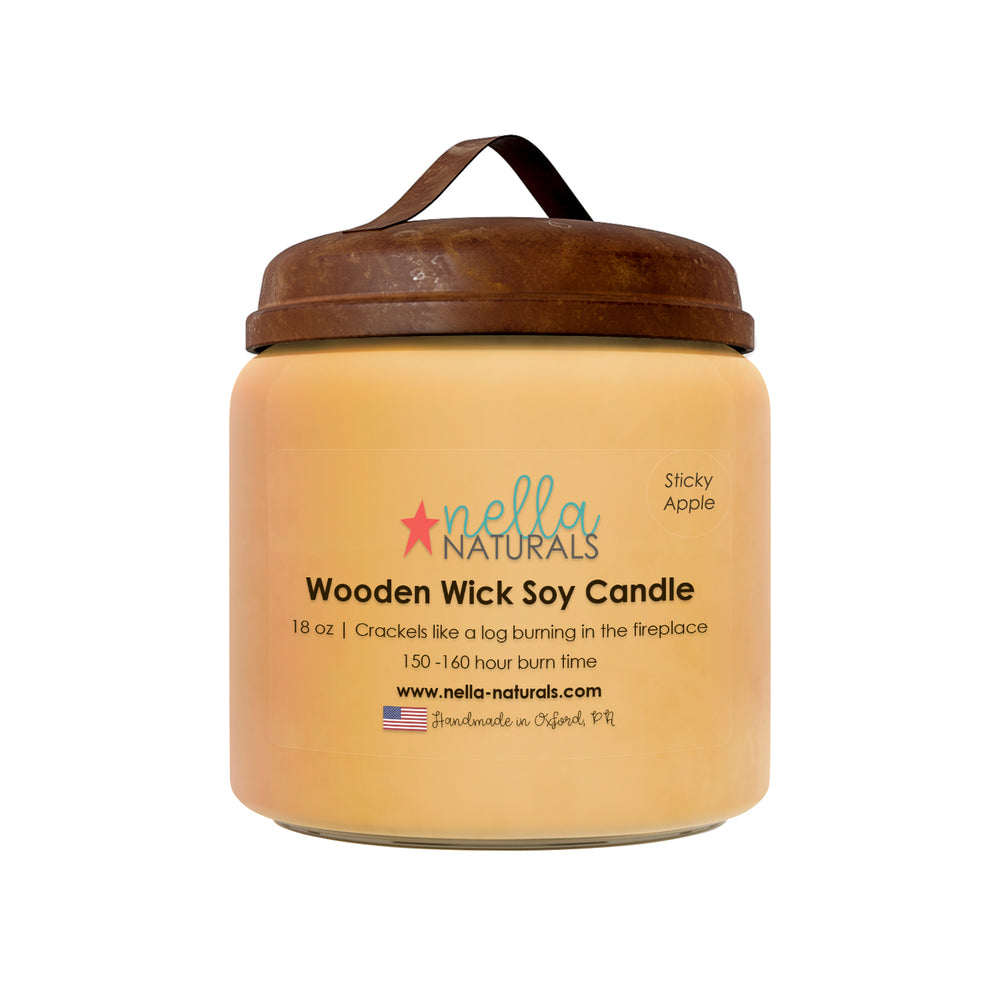18oz Sticky Apple Wooden Wick Candle
