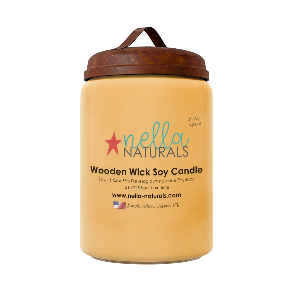 26oz Sticky Apple Wooden Wick Candle