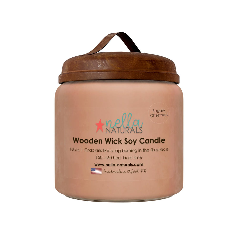 18oz Sugary Chestnuts Wooden Wick Candle