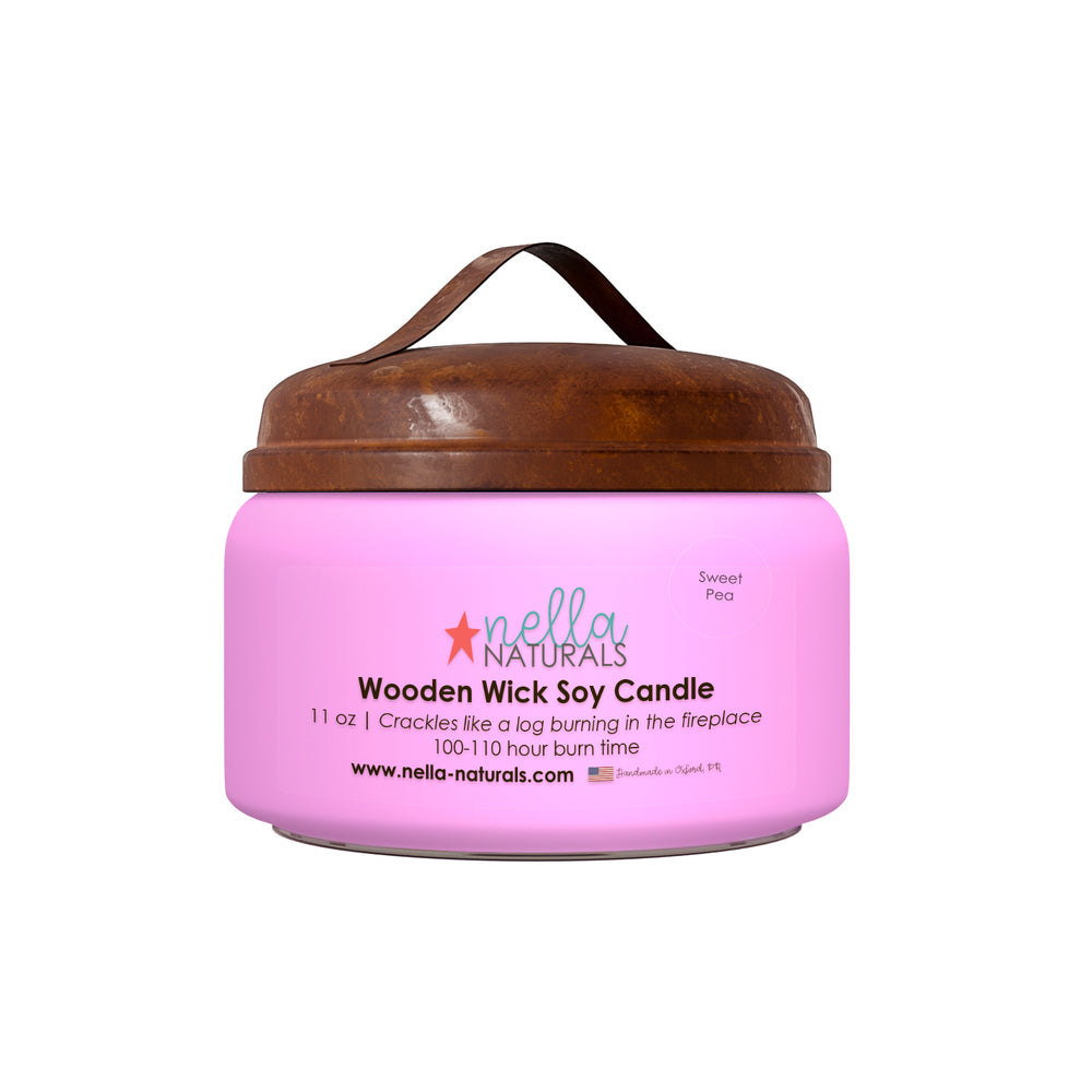 11oz Sweet Pea Wooden Wick Candle